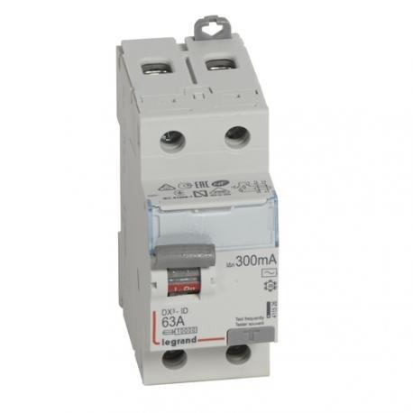 Interrupteur différentiel 63 A - Type AC - 2P - 300 mA - Vis/vis - Haut/bas - DX³-ID