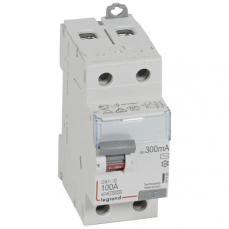Interrupteur différentiel 100 A - Type AC - 2P - 300 mA - Vis/vis - Haut/bas - DX³-ID