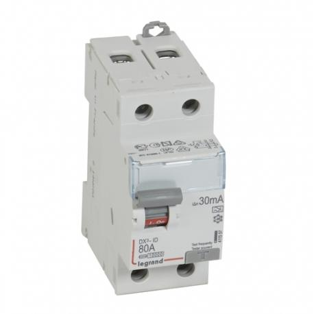 Interrupteur différentiel 80 A - Type A - 2P - 30 mA - Vis/vis - Haut/bas - DX³-ID