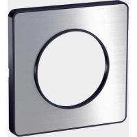 Plaque Odace Touch - Aluminium brossé liseré anthracite - 1 poste