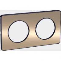 Plaque Odace Touch - Bronze brossé liseré anthracite - 2 postes horiz. ou vert.