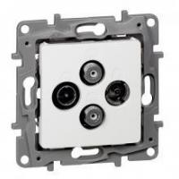 Prise TV / R / SAT / SAT Niloé - 2 câbles - Blanc