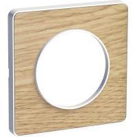 Plaque Odace Touch - Bois naturel liseré blanc - 1 poste