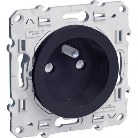 Prise de courant 2P+T Odace - Anthracite - Fixation à vis - Bornes auto
