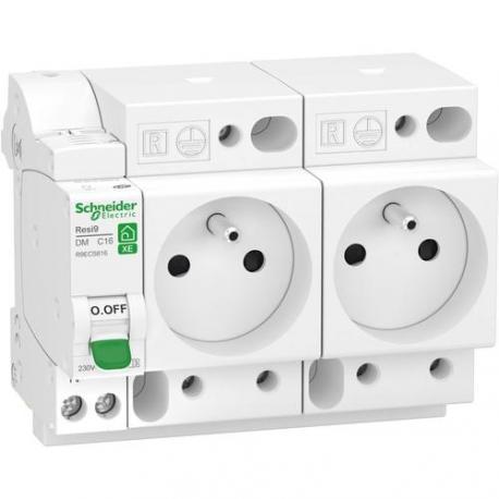 Combiné Resi9 XE - Disjoncteur + 2 x Prises de courant 2P+T - 1P+N - 16 A - Courbe C