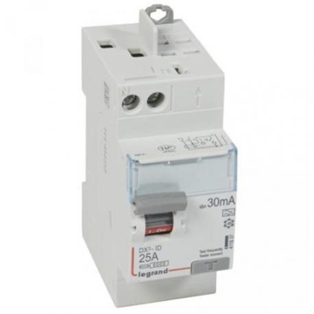 Interrupteur différentiel 25 A - Type A - 1P+N - 30 mA - Vis/auto - DX³-ID