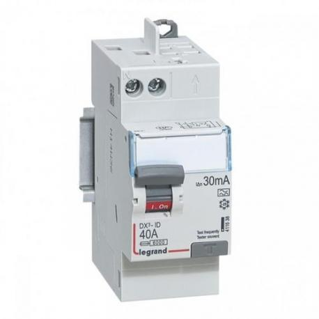 Interrupteur différentiel 40 A - Type A - 1P+N - 30 mA - Vis/auto - DX³-ID