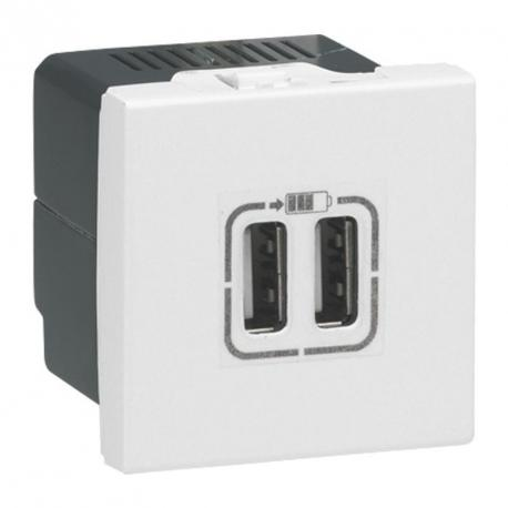 Module de charge USB 230V type A Mosaic - Blanc