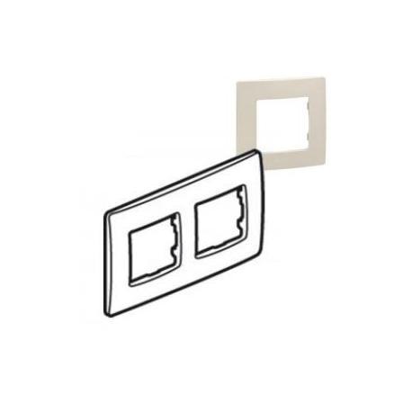 Plaque de finition Niloé 2 postes - Lin - Entraxe 71 mm - Horizontal et vertical
