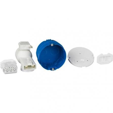 Boîte d'applique avec couvercle affleurant - Diamètre 67 mm - Profondeur 40 mm + Connecteur + Douille
