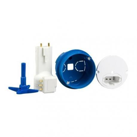 Boîte de centre avec couvercle affleurant - Diamètre 67 mm + Connecteur + Douille