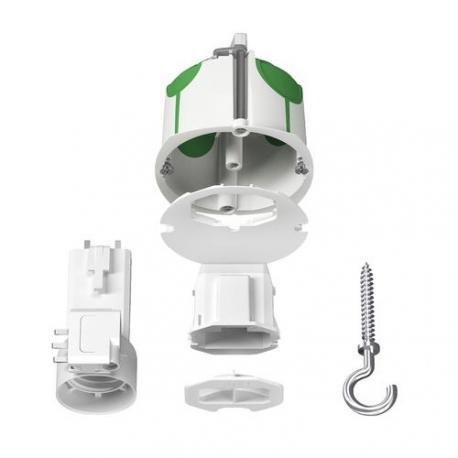 Boîte de centre avec couvercle affleurant + Connecteur + Douille + Piton