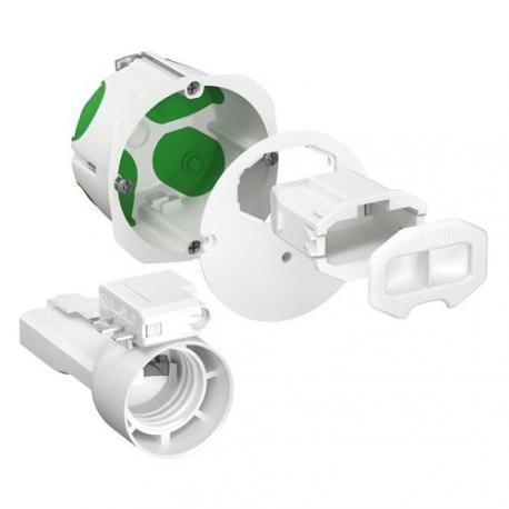 Boîte d'applique avec couvercle affleurant + Connecteur + Douille