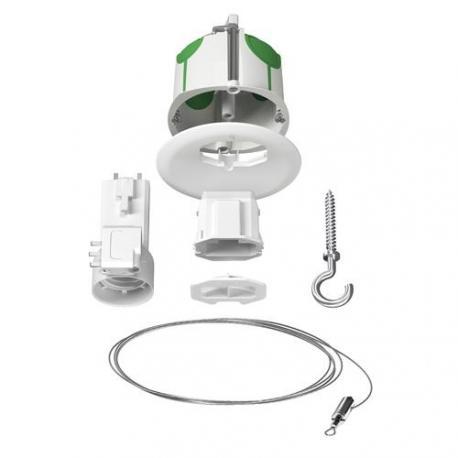 Boite de centre avec couvercle non affleurant + Piton + Connecteur - Fiche + Douille E27