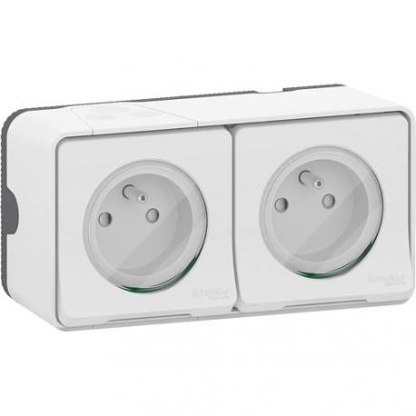 Double prise 2P+T Mureva Styl - Saillie - Complet - Blanc - Connexion auto - IP55 IK08