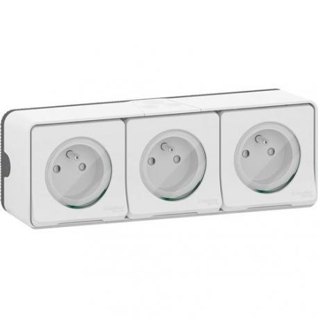 Triple prise 2P+T Mureva Styl - Saillie - Complet - Blanc - Connexion auto - IP55 IK08
