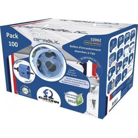 Lot de 100 boîtes d'encastrement étanches à l'air XL Air'Métic + scie cloche - 1 poste - Prof. 40 mm - Diam. 67 mm