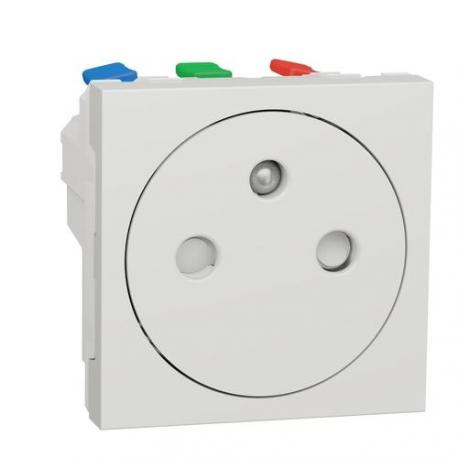 Prise de courant 2P+T affleurante Unica - Bornes auto - Blanc