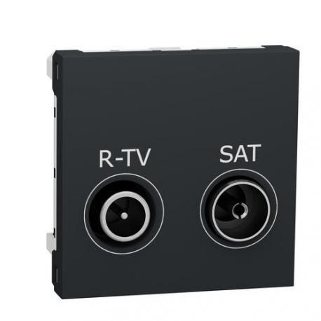 Prise R-TV / SAT Unica - 2 modules - Anthracite