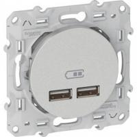 Prise alimentation USB double Odace 2.1 A – Aluminium