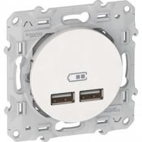 Prise alimentation USB double Odace 2.1 A – Blanc