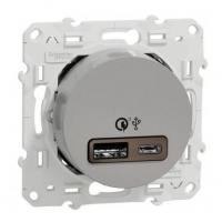 Chargeur USB double type A+C charge rapide Odace - Alu