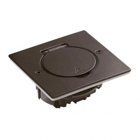 Platine de sol carrée à équiper - acier brun brossé - 1 poste