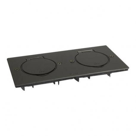 Platine de sol rectangulaire à équiper - acier brun brossé - 2 postes